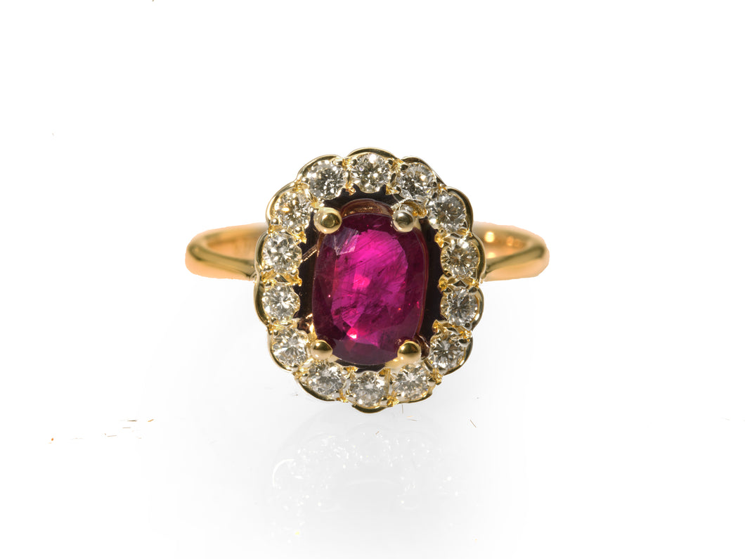 SAMPLE Superb Pigeon Blood Ruby and Diamond Cluster Ring