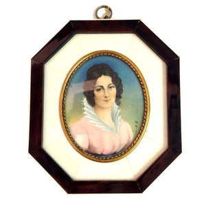 Handpainted Miniature Portrait of a Lady in Ivory Frame