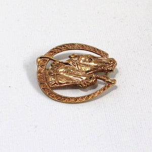 Brass Horse Racing Enthusiast Brooch