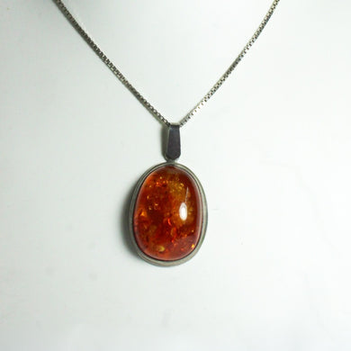Antique Sterling Silver Baltic Cognac Amber Pendant