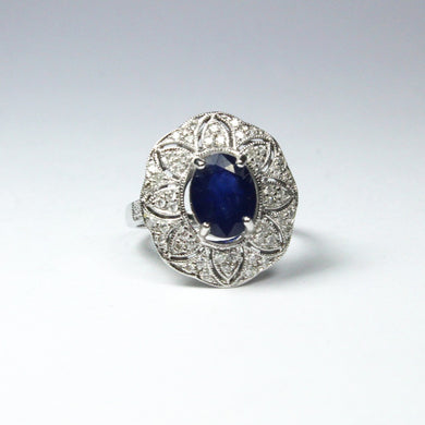 9ct White Gold Sapphire and Diamond Floral Dress Ring