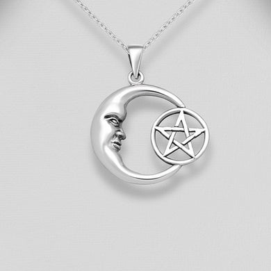 Sterling Silver Crescent Moon and Pentagram Pendant