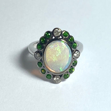 9ct White Gold Solid Opal, Diopside and Diamond Dress Ring