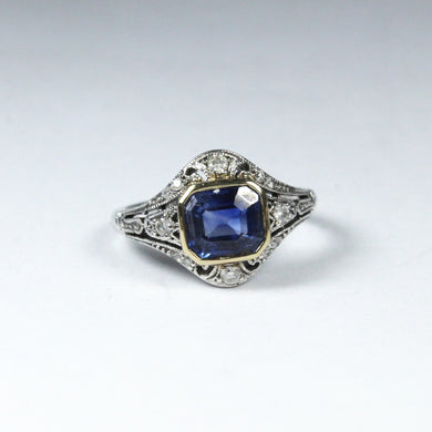 9ct White Gold 1.75ct Sapphire and Diamond Dress Ring