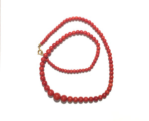 Natural Coral Victorian Graduated Necklace