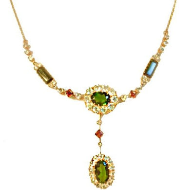 Vintage 18ct Yellow Gold Green Tourmaline, Aquamarine and Red Spinel Necklace