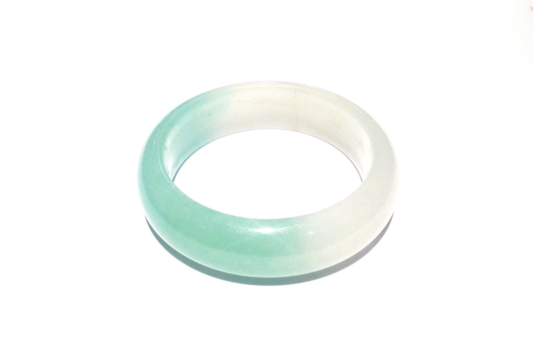 Natural White and Green Jadeite Bangle