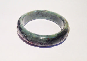 Natural Green and Brown Carved Jadeite Bangle