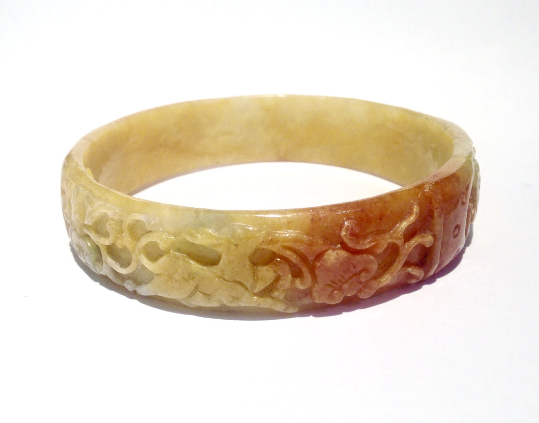 Natural Carved Yellow Jade Bangle