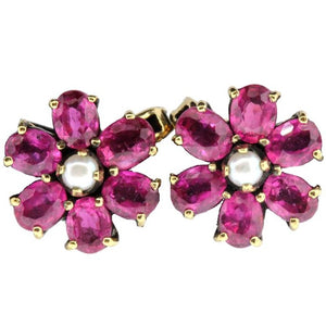 Vintage 9ct Yellow Gold Natural Ruby and Seed Pearl Stud Earrings