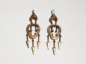 Early Victorian Earrings in 9ct Gold Beautifully Detailed Engraving