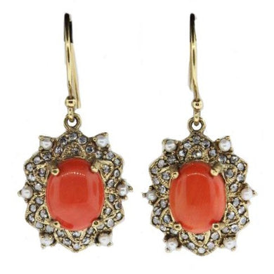 9ct Yellow Gold Natural Momo Coral, Diamond and Seed Pearl Drop Earrings