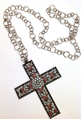 Antique Sterling Silver Blue Sapphire, Ruby and Aquamarine Crucifix