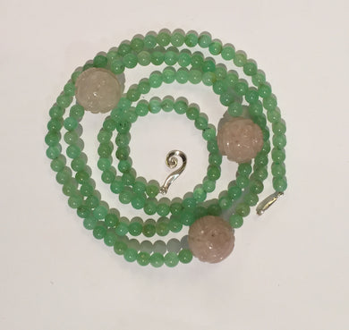 Natural Chrysoprase and Rose Quartz Necklace