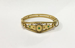 Edwardian Gold-Plated Emerald Cuff