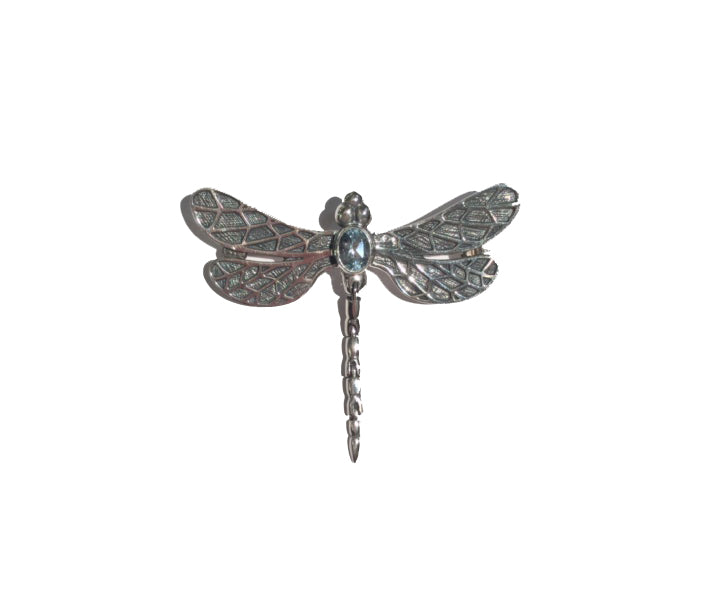 Sterling Silver Topaz Dragonfly Brooch
