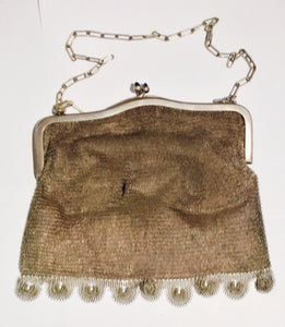 Vintage Sterling Silver bag with Cabochon Sapphires and Leather Interior