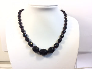One Collar Length Faceted Cherry Amber Graduated Necklace