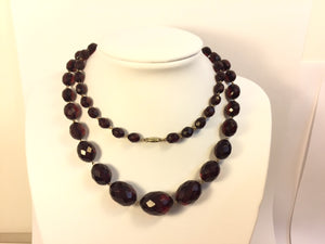 Matinee Length Faceted Cherry Amber Necklace