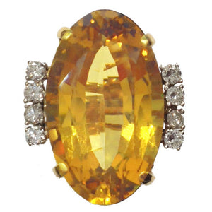 31.10ct Golden Citrine and Diamond Ring