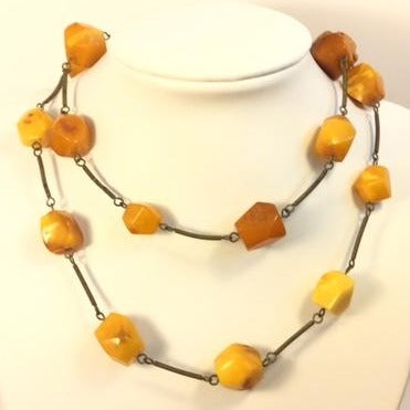 Antique Russian Butterscotch Amber NEcklace Strung on Silver Chain