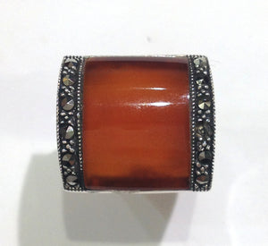 Sterling Silver Carnelian Marcasite Ring