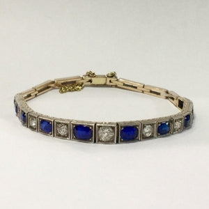 9ct White Gold Blue and White Sapphire Bracelet