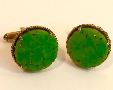 18ct Yellow Gold Carved Jadeite Cufflinks