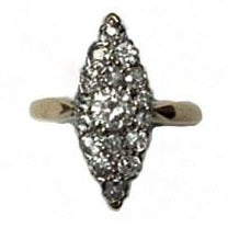 Antique 18ct Yellow Gold 1.30ct Diamond Marquise Ring