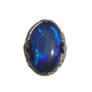 9ct Solid Black Opal and Diamond Ring
