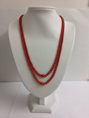 Natural Mediterranean Salmon Coral Two Strand Necklace