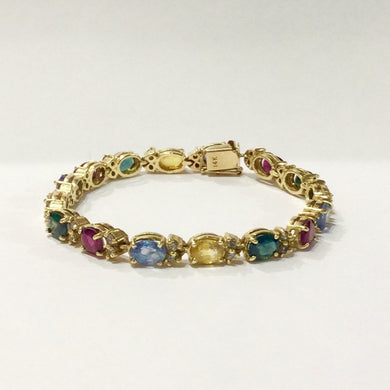 14ct Yellow Gold Harlequin Coloured Sapphire Bracelet