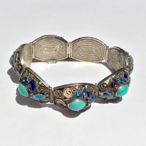 Vintage Turquoise Silver Filigree with Enamel Detail