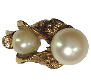 Vintage 9ct Yellow Gold Cultured Pearl Twin Ring