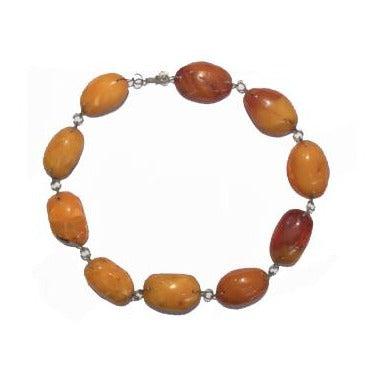 Antique Sterling Silver Wire Baltic Butterscotch Amber Necklace