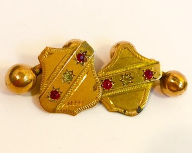 15ct Yellow Gold Ruby Shield Cufflinks