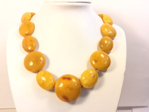 SAMPLE Old Russian Large Round Bead Butterscotch Amber Necklace