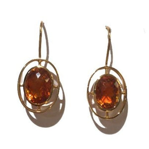 9ct Yellow Gold Citrine Drop Earrings