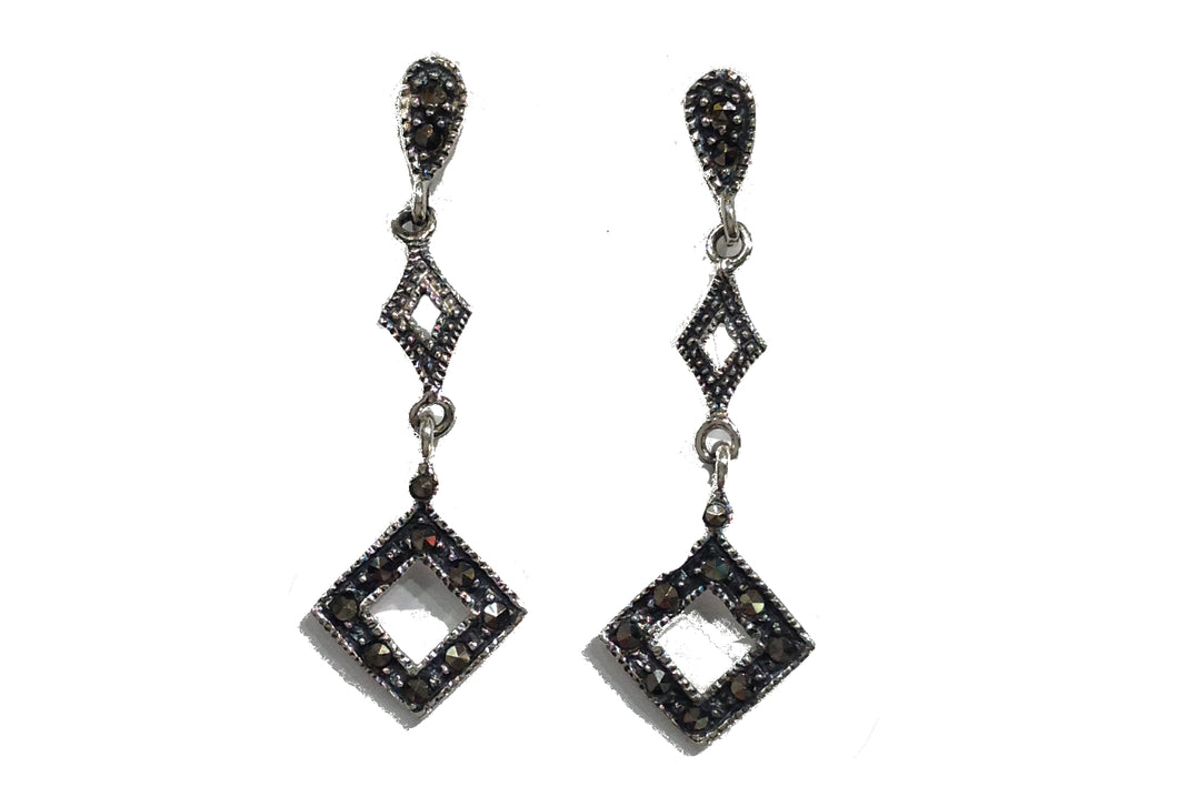 Sterling Silver Cube Marcasite Earrings