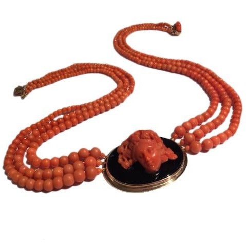 9ct Rose Gold Carved Natural Momo Coral and Onyx Cameo Multi-Strand Necklace