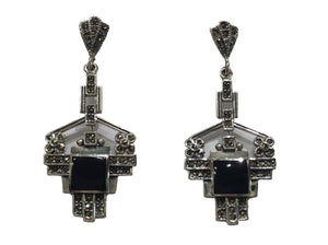 Sterling Silver Onyx Marcasite Earrings