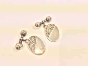 Edwardian Sterling Silver Engraved Cufflinks