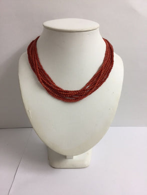 Natural Mediterranean Oxblood Red Multi-Strand Coral Necklace