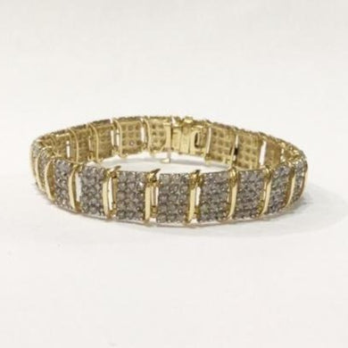 10ct Yellow Gold Diamond Wide Tennis Bracelet