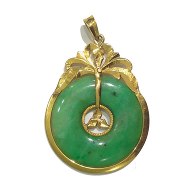 Antique 14ct Yellow Gold Jadeite Pendant