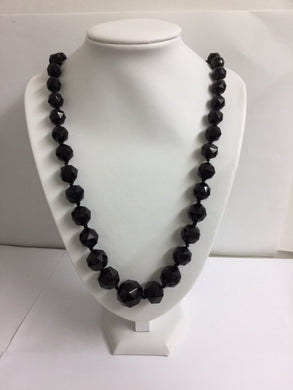 Vintage Faceted Whitby Jet Necklace