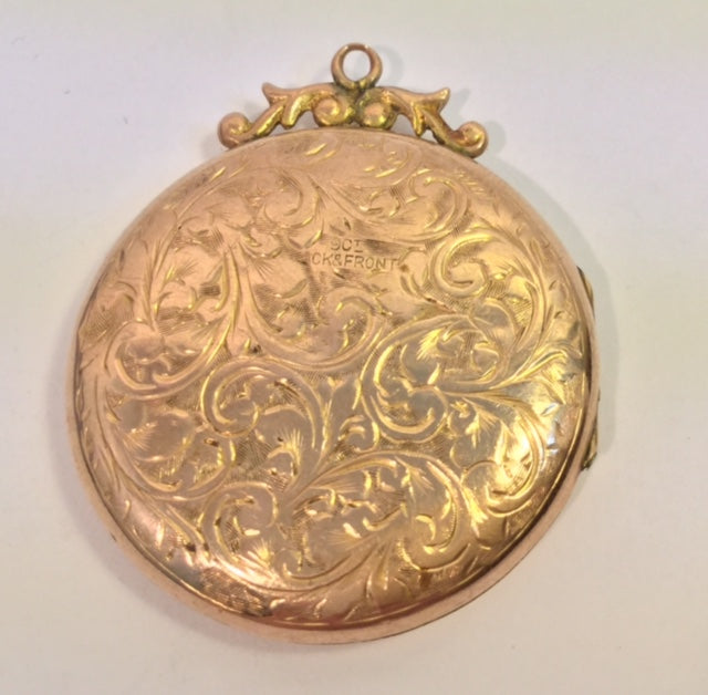 Antique 9ct Yellow Gold Engraved Locket