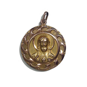 Vintage 14ct Yellow Gold Madonna and Jesus Pendant