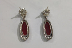 Sterling Silver Carnelian Marcasite Earrings