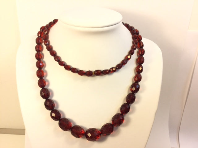 Matinee Length Faceted Cherry Amber Graduated Necklace